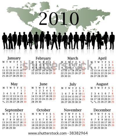 Illustration of calendar for 2010. year - Monday start.
