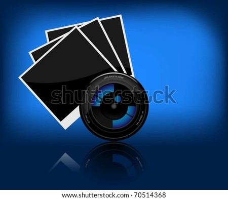 Illustration of camera lens and a photo on a dark background. Vector. - stock vector