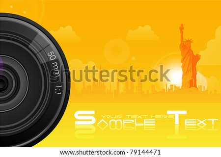 illustration of camera lens on city scape with statue of liberty - stock vector
