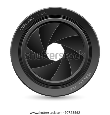 Illustration of camera lens, on white background for design - stock vector