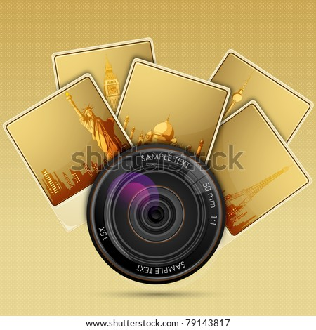 illustration of camera lens with photograph of famous historical monument - stock vector