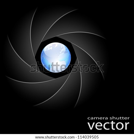 Illustration of camera shutter and planet Earth on black background. Vector. - stock vector