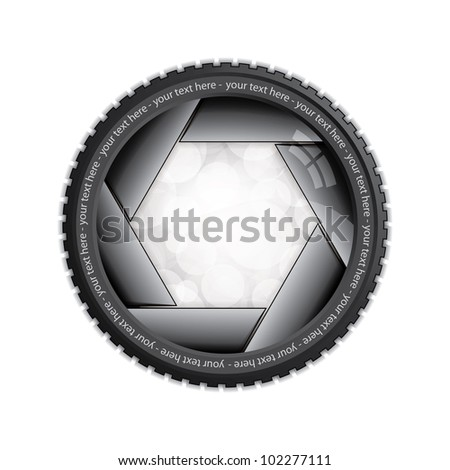 Illustration of camera shutter isolated on white - stock vector