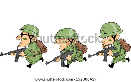 Illustration of Camouflaged Soldiers Mounting an Attack - stock vector
