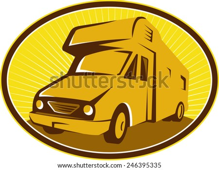 Illustration of camper van mobile home viewed from front set inside ellipse done in retro style. - stock vector