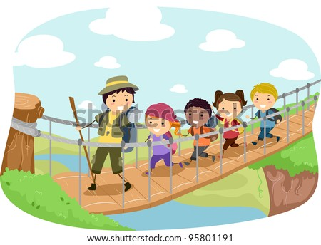 Illustration of Campers Crossing a Hanging Bridge - stock vector
