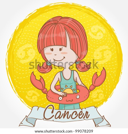 Illustration of Cancer zodiac sign in cute cartoon style as a girl in swimming suite with crab lifebuoy for swimming