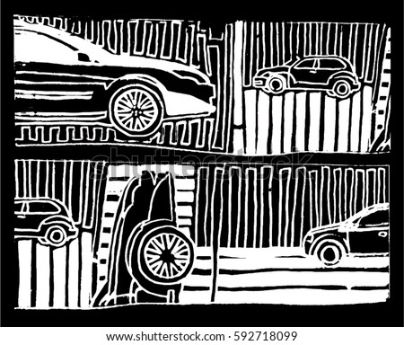 Illustration of cars and lines. Black and white drawing.