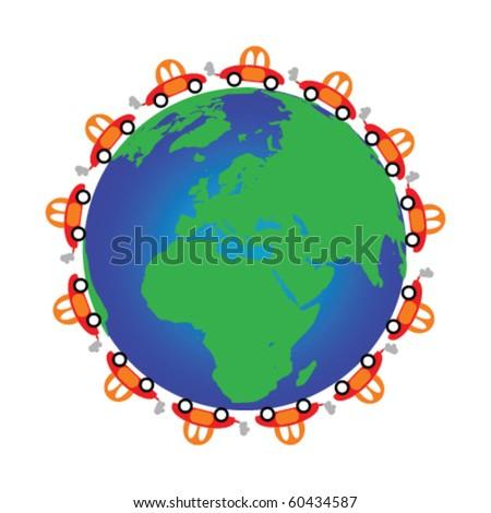 illustration of cars around the globe - stock vector