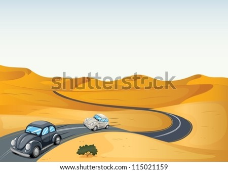 illustration of cars in a desert - stock vector