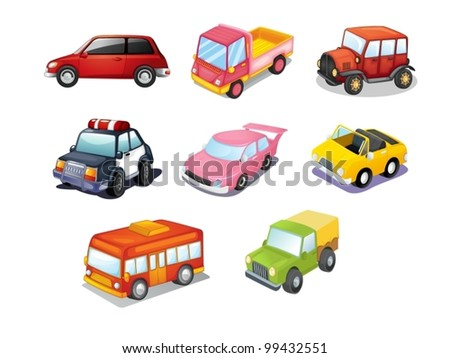 Illustration of cars isolated on white - stock vector