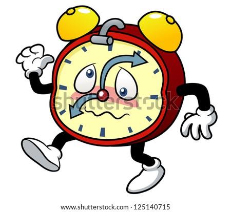 illustration of Cartoon alarm clock - stock vector