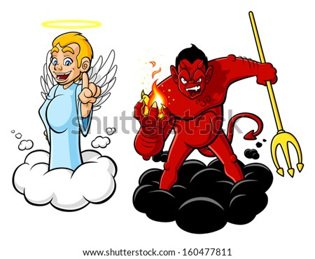 Illustration of cartoon angel and devil. The characters are isolated on white background. - stock vector