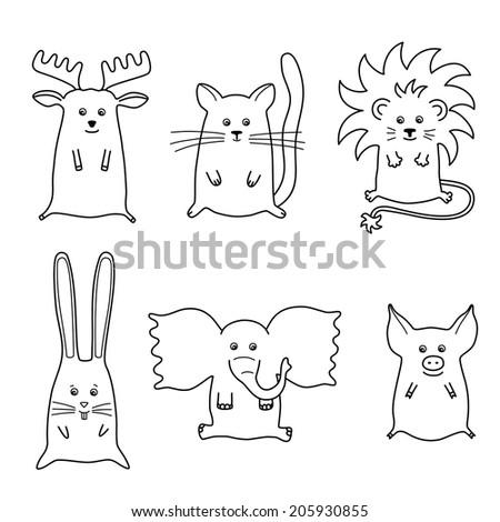 illustration of 6 cartoon animals, vector eps 10  - stock vector