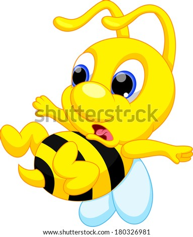 Illustration of cartoon bee surprised