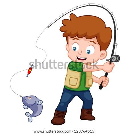 illustration of Cartoon Boy fishing - stock vector