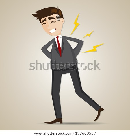 illustration of cartoon businessman have backache in office syndrome concept - stock vector