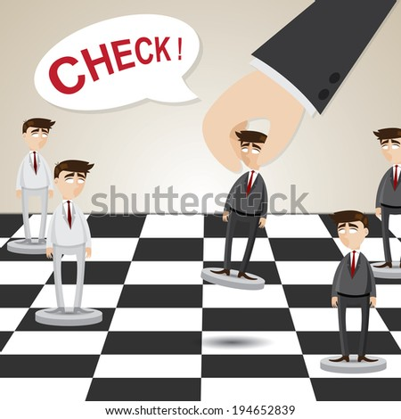 illustration of cartoon businessman in chessboard in business strategy concept - stock vector
