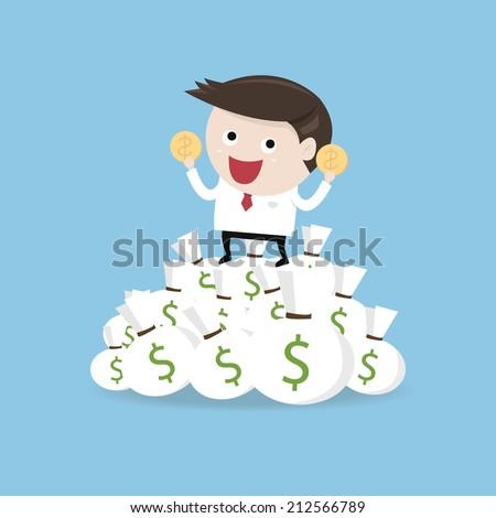 illustration of cartoon businessman on pile of money cash - stock vector
