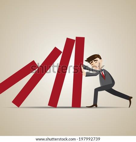 illustration of cartoon businessman resist dominos falling - stock vector