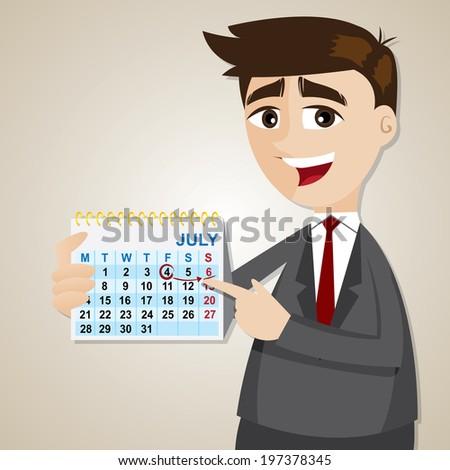 illustration of cartoon businessman showing weekend on calendar - stock vector