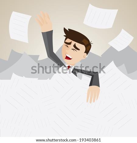 illustration of cartoon businessman under pile of paper - stock vector
