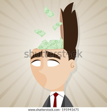 illustration of cartoon businessman with cash from his head in salaryman concept - stock vector