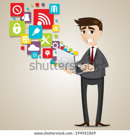 illustration of cartoon businessman with laptop and icon in technology computer concept - stock vector