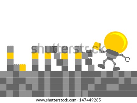 illustration of cartoon character bulb lamp with business activity - stock vector