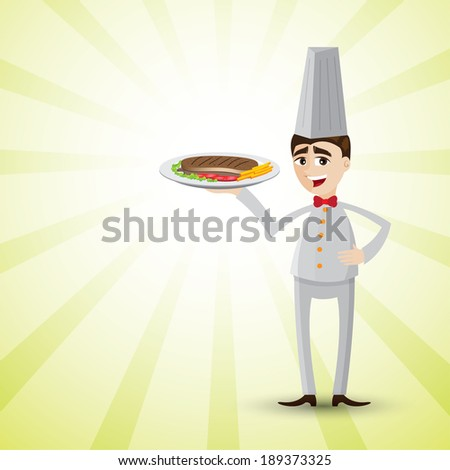 illustration of cartoon chef with dish of steak.on shiny background. - stock vector