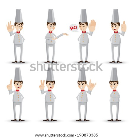 illustration of cartoon chef with hand sign - stock vector