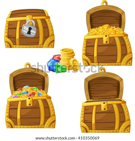 Illustration of cartoon chest locked, open and full of gold and jewels. Vector 2d asset for games. - stock vector