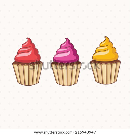 Illustration of cartoon collection of cupcake .Vector.
