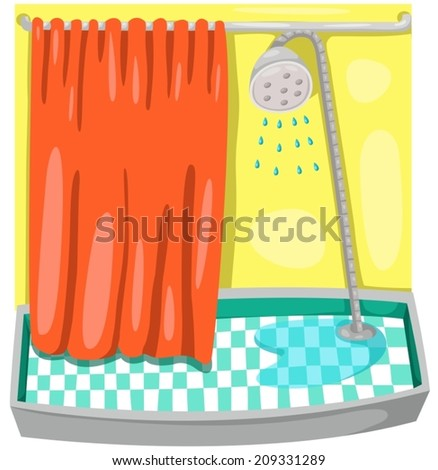 illustration of cartoon colorful shower room  - stock vector