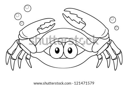 illustration of Cartoon crab - Coloring book - stock vector