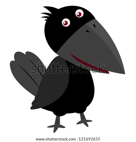 illustration of Cartoon crow - stock vector