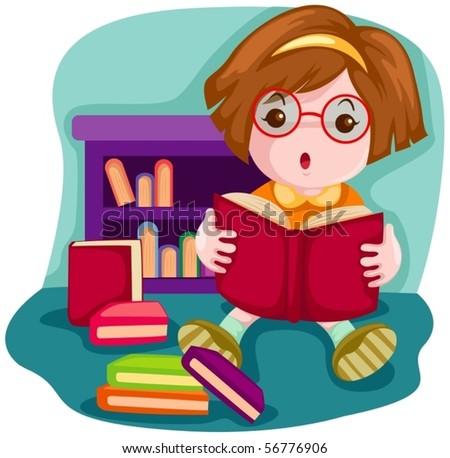 illustration of  cartoon cute girl reading a book - stock vector