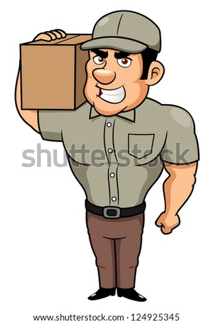 illustration of Cartoon delivery man