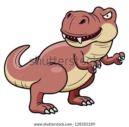 illustration of cartoon dinosaur - stock vector