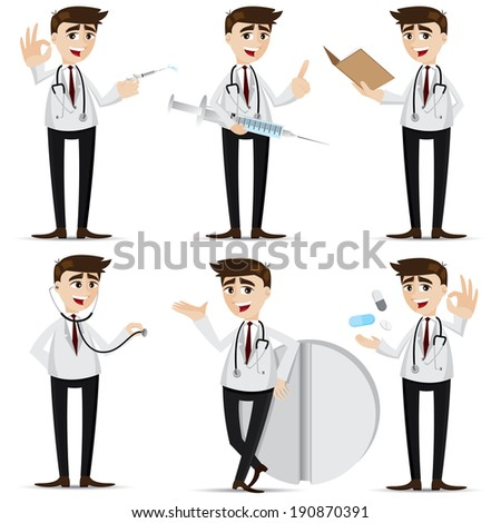 illustration of cartoon doctor in action