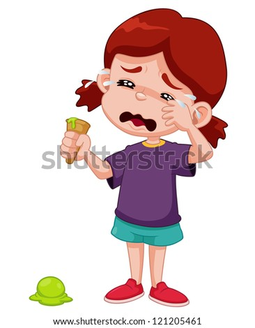 Illustration of Cartoon girl crying with ice cream drop - stock vector