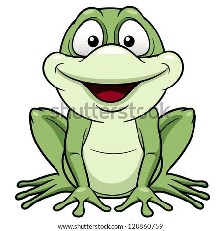 illustration of Cartoon green frog - stock vector