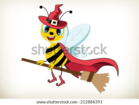 Illustration of cartoon halloween witch bee