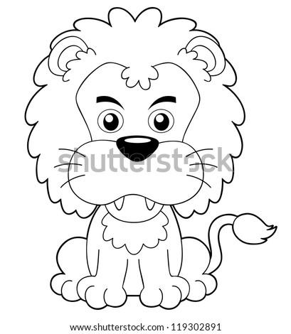 illustration of cartoon lion outline - Outline Cartoon Pictures