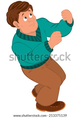 Illustration of cartoon male character isolated on white. Cartoon man with brown hair in green sweater.