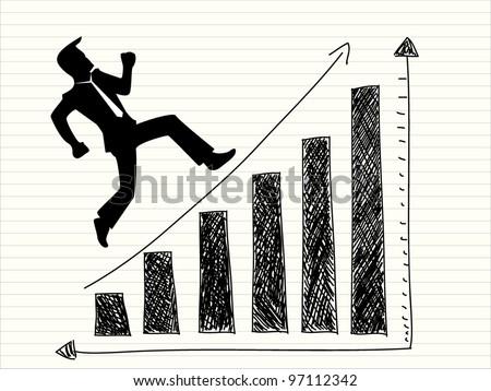 illustration of cartoon office worker climbs up chart - stock vector