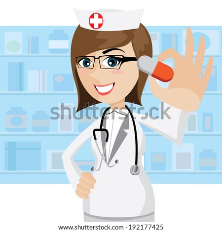 illustration of cartoon pharmacist showing pills in drug store - stock vector