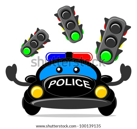 illustration of cartoon police car with traffic light - stock vector