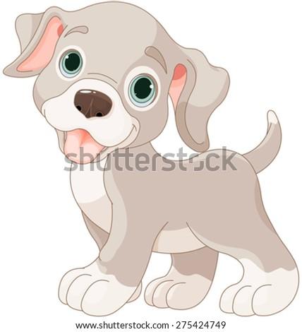 Illustration of cartoon puppy - stock vector