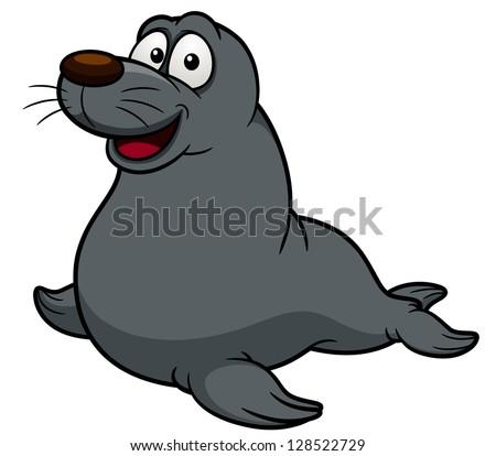 illustration of Cartoon seal - stock vector